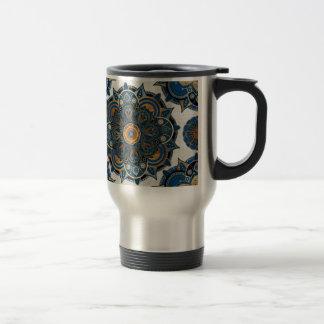 Silver and gold mandala travel mug