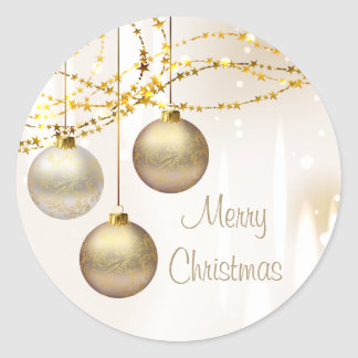 Silver and Gold Ornate Christmas Balls Classic Round Sticker