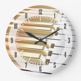 Silver and Gold Piano Large Clock