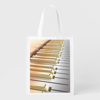 Silver and Gold Piano Reusable Grocery Bag