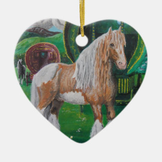 Silver and gold romantic horse and van ceramic heart decoration