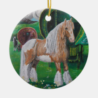 Silver and gold romantic horse and van round ceramic decoration