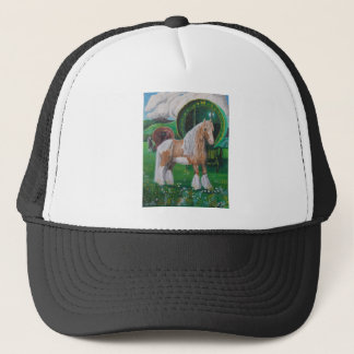 Silver and gold romantic horse and van trucker hat