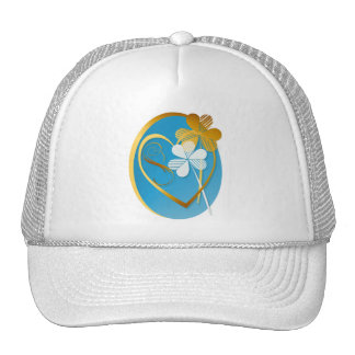 Silver and Gold Shamrock in My Heart. Oval Trucker Hat