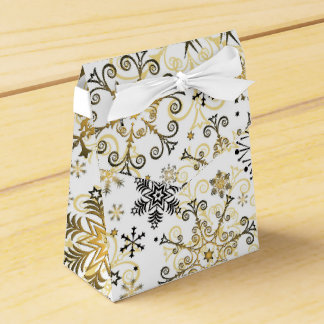 Silver and gold snowflake pattern favor box wedding favour box