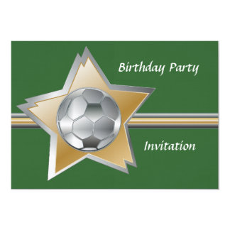 Silver and gold soccer star linen birthday party announcement
