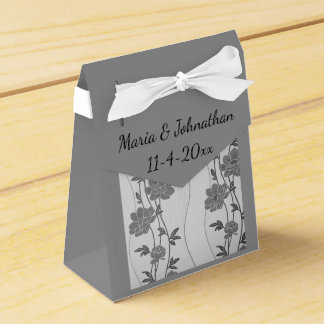 Silver and Gray Floral Favor Box Bag Party Favour Box
