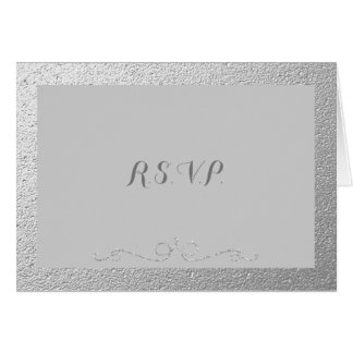Silver and Gray Foil RSVP Cards