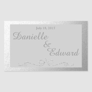 Silver and Gray Foil Wine Label Rectangular Sticker