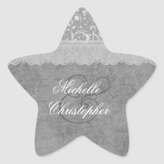 SILVER and GRAY Lace Wedding V06 Star Sticker