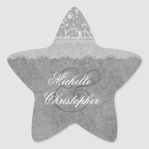 SILVER and GRAY Lace Wedding V06 Sticker