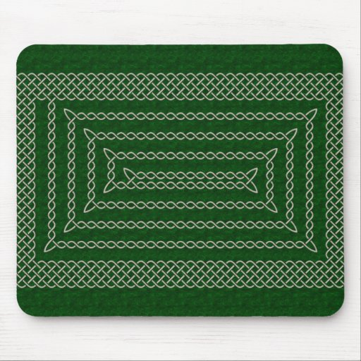 Silver And Green Celtic Rectangular Spiral Mouse Pads