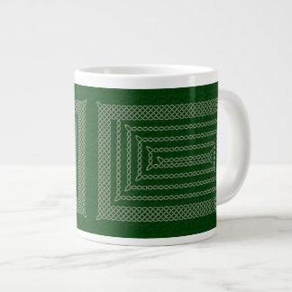 Silver And Green Celtic Rectangular Spiral Jumbo Mug
