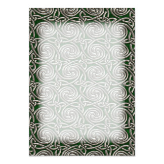 Silver And Green Celtic Spiral Knots Pattern 13 Cm X 18 Cm Invitation Card