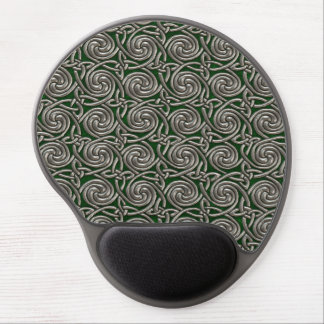 Silver And Green Celtic Spiral Knots Pattern Gel Mouse Pad