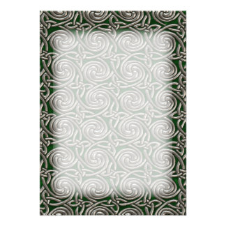 Silver And Green Celtic Spiral Knots Pattern Custom Invites