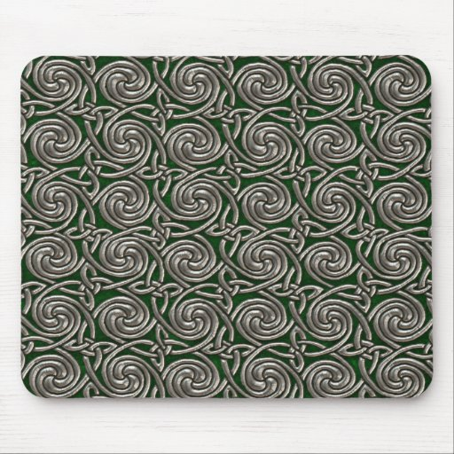 Silver And Green Celtic Spiral Knots Pattern Mousepad