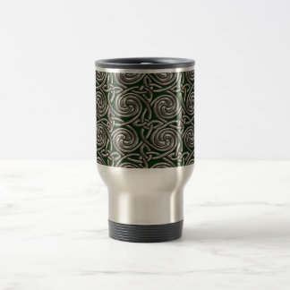 Silver And Green Celtic Spiral Knots Pattern Coffee Mugs