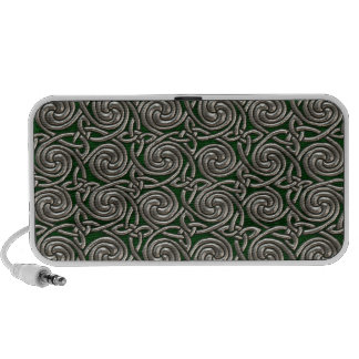 Silver And Green Celtic Spiral Knots Pattern Travel Speakers
