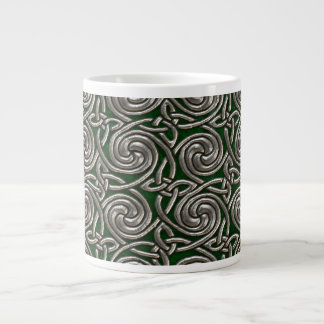 Silver And Green Celtic Spiral Knots Pattern Extra Large Mug