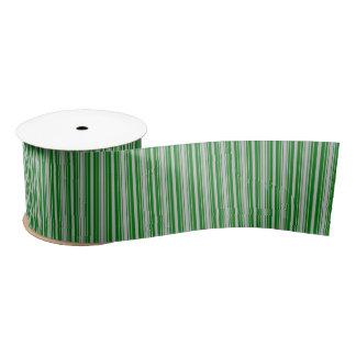 Silver and Green Christmas Stripes Satin Ribbon
