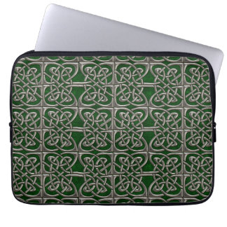 Silver And Green Connected Ovals Celtic Pattern Laptop Sleeve