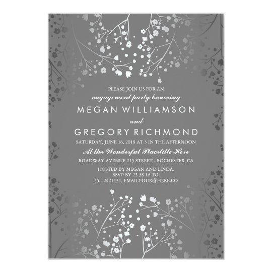 Silver and Grey Baby's Breath Engagement Party Card
