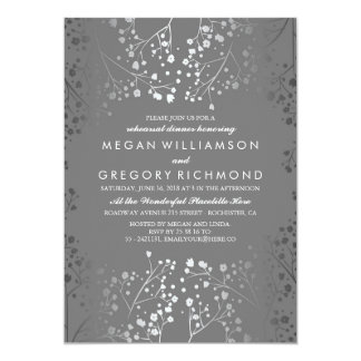 Silver and Grey Baby's Breath Rehearsal Dinner Card