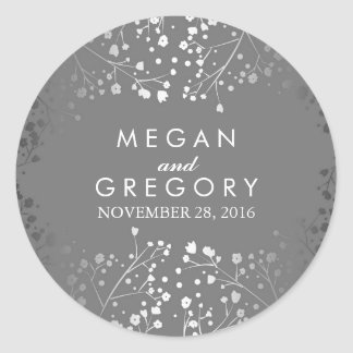 Silver and Grey Baby's Breath Wedding Round Sticker