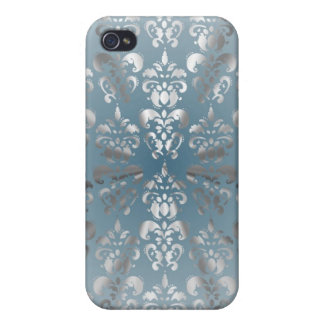 Silver and grey/blue damask case for the iPhone 4