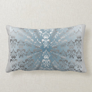 Silver and grey/blue damask pillows