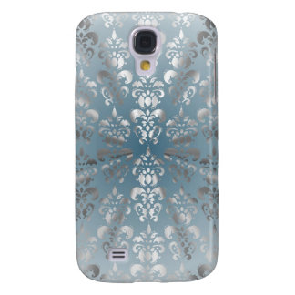 Silver and grey/blue damask galaxy s4 case