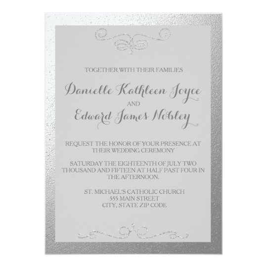 Silver Foil Wedding Invitations: Silver And Grey Foil Wedding Invitations