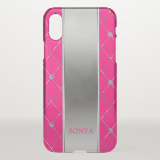 Silver And Hot Pink Geometric Shapes iPhone X Case