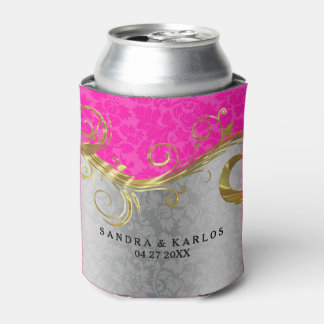 Silver And Hot Pink Vintage Damasks Gold Accents Can Cooler