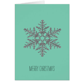 Silver and Mint Faux Glitter Snowflake Card