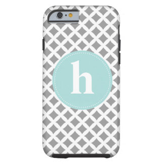 Silver and Mint Monogram Tough iPhone 6 Case