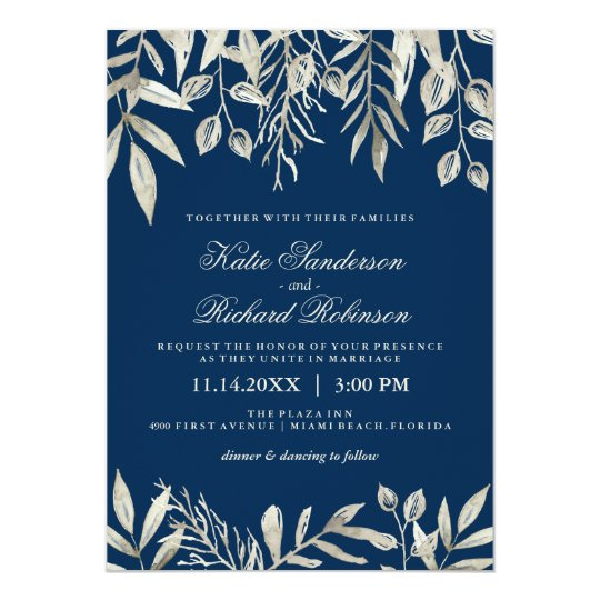 Silver and navy blue wedding invitations zazzlecouk for Navy and silver wedding invitations uk