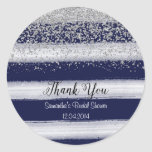 Silver and Navy Bridal Shower Sticker