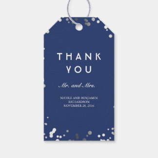 Silver and Navy Confetti Elegant Wedding Gift Tags
