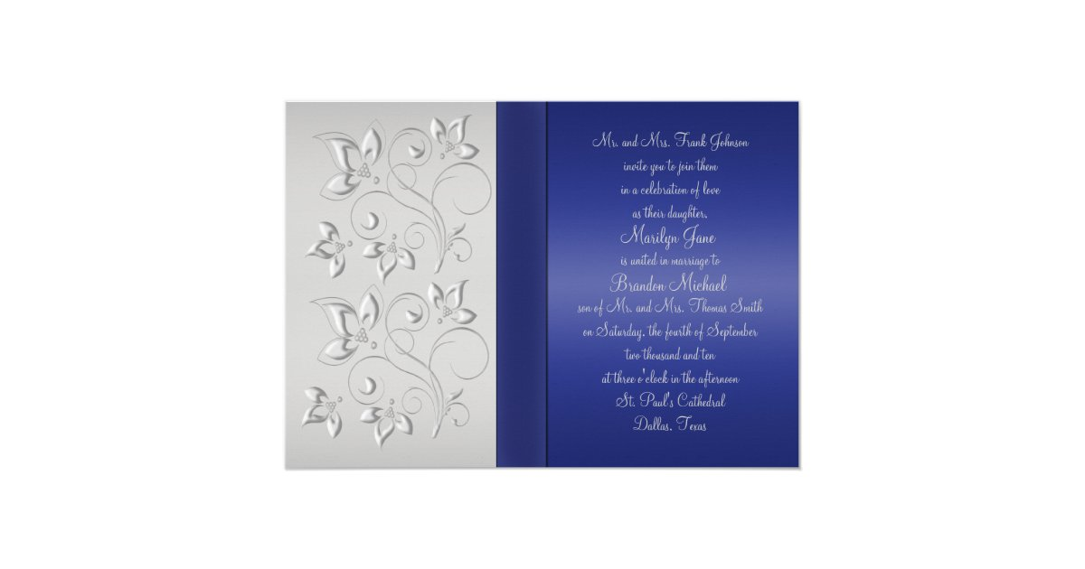Silver and navy monogrammed invitation zazzle for Navy and silver wedding invitations uk