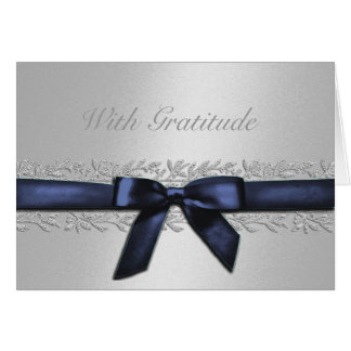 Silver and Navy with Silver Vine Border Thank You Card