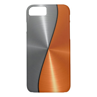 Silver and Orange Stainless Steel Metal iPhone 8/7 Case