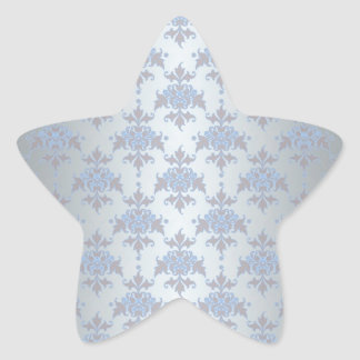 Silver and Pale Blue Fancy Damask Star Sticker