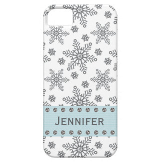 Silver and Pale Blue Snowflake iPhone 5 Case