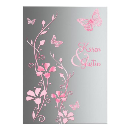 Silver and Pink Butterflies Wedding Invitation