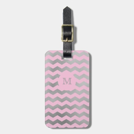 Silver and Pink Chevron Luggage Tag