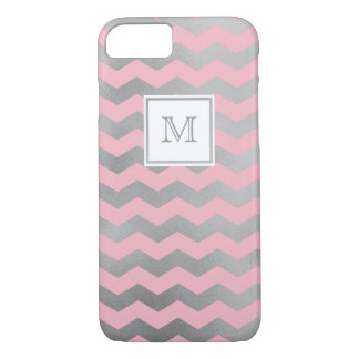 Silver and pink chevron Phone case