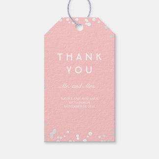 Silver and Pink Confetti Elegant Wedding Gift Tags