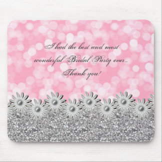 Silver and Pink Daisies and Bokeh Wedding or other Mouse Pad